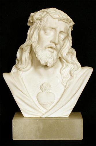 Sacred Heart Of Jesus Bust 5 5 Inch White Alabaster