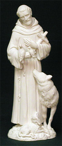 St Francis Statue With Animals 6 Inch White Alabaster