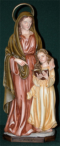 St Anne With Mary Statue 12 Inch Handpainted Alabaster