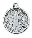 Sterling Silver St. Francis Medal Necklace With 24 Inch Rhodium Plated Brass Chain and Deluxe Gift Box