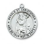 Sterling Silver St. Christopher Medal Necklace With 24 Inch Rhodium Plated Brass Chain and Deluxe Gift Box