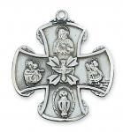 Sterling Silver 4-Way Medal Necklace With 24 Inch Rhodium Plated Brass Chain and Deluxe Gift Box