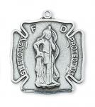 Sterling Silver St. Florian Medal Necklace With 24 Inch Rhodium Plated Brass Chain and Deluxe Gift Box