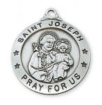 Sterling Silver St. Joseph Medal Necklace With 24 Inch Rhodium Plated Brass Chain and Deluxe Gift Box