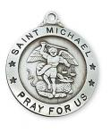 Sterling Silver St. Michael Medal Necklace With 24 Inch Rhodium Plated Brass Chain and Deluxe Gift Box