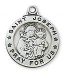 Sterling Silver St. Joseph Medal Necklace With 20 Inch Rhodium Plated Brass Chain and Deluxe Gift Box