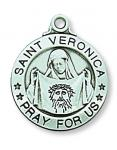Sterling Silver St. Veronica Medal Necklace With 20 Inch Rhodium Plated Brass Chain and Deluxe Gift Box