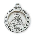 Sterling Silver St. Jude Medal Necklace With 18 Inch Rhodium Plated Brass Chain and Deluxe Gift Box