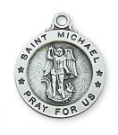 Sterling Silver St. Michael Medal Necklace With 18 Inch Rhodium Plated Brass Chain and Deluxe Gift Box