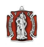 Sterling St Florian badge Medal Necklace With red epoxy on 24in rhodium plated brass chain in gift box.