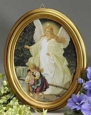 Guardian Angel Framed Art Print In Oval Gold Frame 8 5