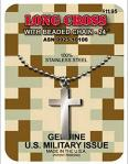 Military Cross Necklace - 1 1/8 Long Cross - Genuine Military Issue