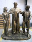 St. John Bosco With Children Outdoor Garden Church Statue - 79 Inch - Bronze Looking Hand-painted Polymer Resin