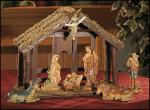 Nativity Set With Wood Stable - 7 Piece - 6 Inch Figures