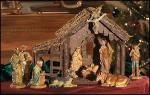Nativity Set With Wood Stable - 10 Piece - 6 Inch Figures