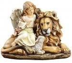 Lion Laying Down With The Lamb & Angel Statue - 14.5 W x 11.5 H - Resin Stone Mix