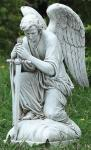 Kneeling Angel With Sword Pointed To Ground Outdoor Garden Statue - 13.25 Inch - Resin Stone Mix