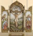 Crucifixion Scene Triptych Plaque - 12.25 Inch - Made of Stone / Resin