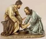 Jesus Washing Disciples Feet Statue - 6.5H - Made of Stone Resin
