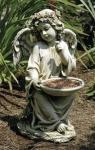 Angel Outdoor Garden Bird Feeder Statue - 14.5 Inch - Resin Stone Mix