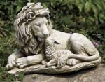 Lion Laying Down With The Lamb Outdoor Garden Statue - 20 W x 12.25 H - Resin Stone Mix