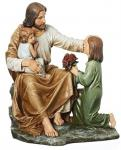 Jesus With The Children Statue - 14 Inch - Resin Stone Mix