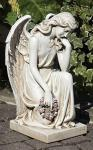 Kneeling Angel Outdoor Garden Memorial Statue - 17.75 Inch - Resin Stone Mix
