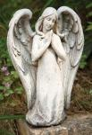 Kneeling Angel Outdoor Garden Statue - 10 Inch - Resin Stone Mix