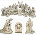 Nativity Set - Indoor / Outdoor Statues - 13 Piece - Antique Stone - Made of Fiberglass