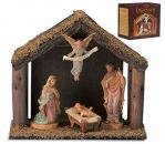 Nativity Set With Wood Stable by DiGiovanni - 4 Piece - 6 Inch Figures