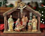 Nativity Set With Wood Stable by DiGiovanni - 7 Piece - 6 Inch Figurines