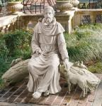 St. Francis Sitting With The Animals Outdoor Garden Church Statue - 42 Inch - Resin