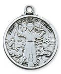 St. Francis Medal - Patron Saint of Animals - Sterling Silver - 1 Inch With 24 Inch Chain
