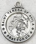 St. Teresa of Avila Medal - Sterling Silver - 3/4 Inch with 20 Inch Chain