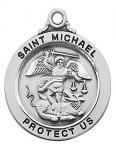 St. Michael Sterling Silver Saints Medal - 3/4 Inch - Patron Saint of Police
