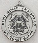 US Coast Guard Medal - Sterling Silver Military Medal with St Michael The Archangel - 7/8 Inch with 24 Inch Chain