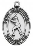 Baseball Medals - St Christopher Sterling Silver - 1 1/8 Inch with 24 Inch Chain