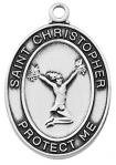 St. Christopher Girls Cheerleading Medal - Sterling Silver - 1 Inch with 18 Inch Chain