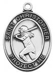 St. Christopher Girls Softball Sports Medals - Sterling Silver - 1 Inch with 18 Inch Chain