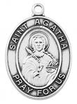 St. Agatha Medal - Patron Saint of Nurses - Sterling Silver - 1 Inch With 18 Inch Chain