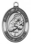 St. Francis Medal - Patron Saint of Animals - Sterling Silver - 1 Inch with 18 Inch Chain