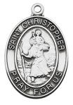 St. Christopher Medal - Patron Saint of Travelers - 1 1/16 - Sterling Silver