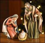 Holy Family Nativity Set - 3 Piece - 6.5 Inch - Stone Resin