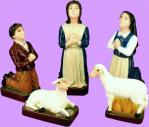 Fatima Children With Sheep Outdoor Garden Statues - 5 Piece Set - Painted Vinyl Composition