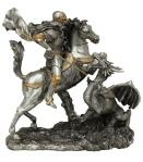 St. George Statue - 10.5 x 11.5 x 6 Inch - Pewter Style Finish - From The Veronese Collection