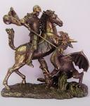 St George Statue - 10.5 x 11.5 x 6 Inch - Lightly Hand-painted Cold Cast Bronze - From The Veronese Collection