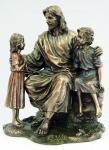 Jesus and the Children Statue - 8.25 Inch - Lightly Hand-painted Cold-cast Bronze Resin - Veronese Collection