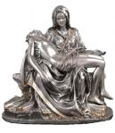 Pieta Statue - 6.25 Inch - Pewter Style With Gold Highlights - Veronese Collection