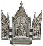 Crucifixion Scene Triptych  - 7.25 Inch - Pewter Style Finish with Gold Highlights