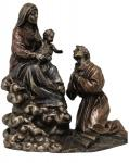 Madonna & Child with St. Francis Statue - 8 x 9 - Cold-cast Bronze - Veronese Collection